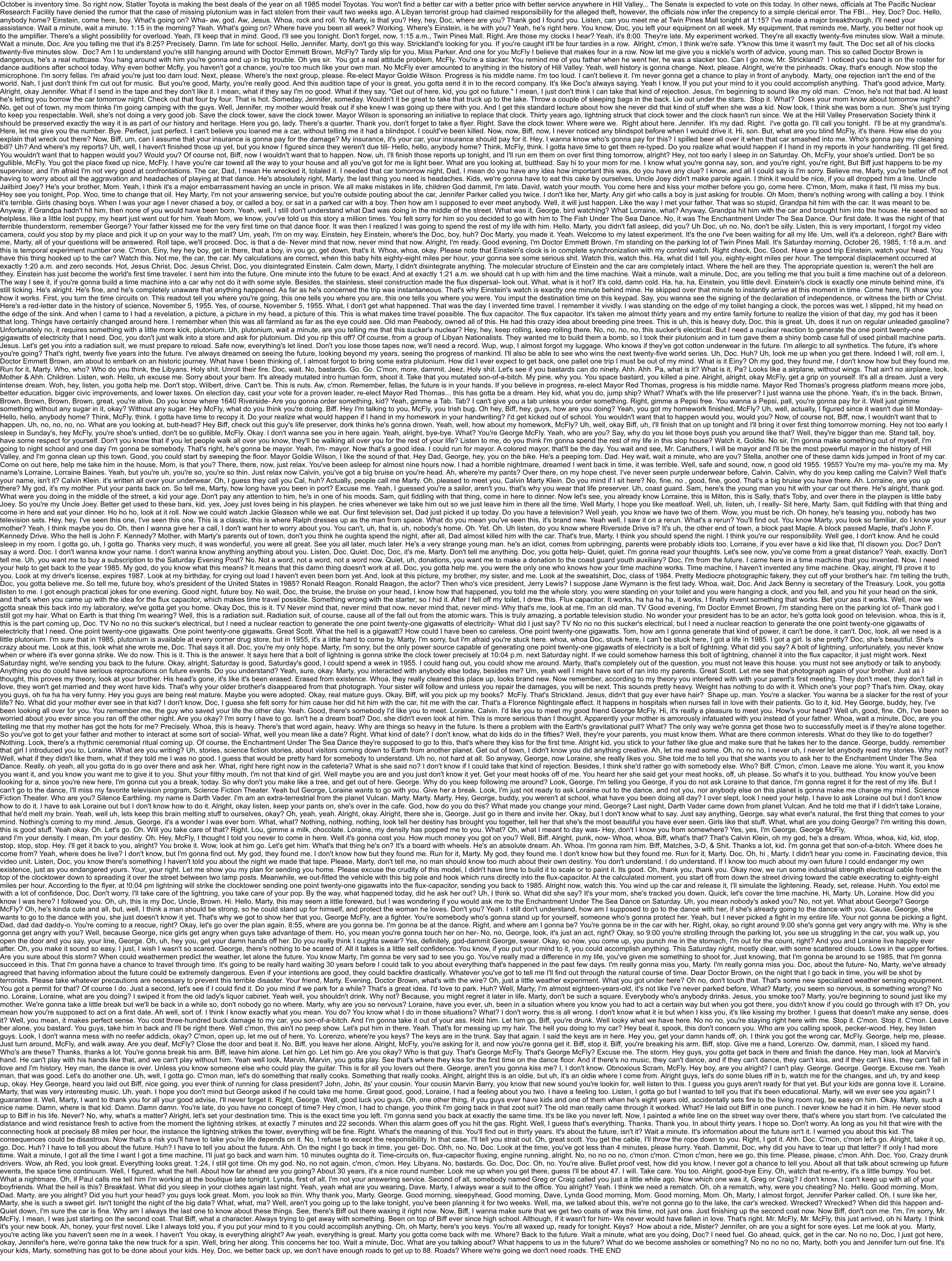 BTTF1 Script